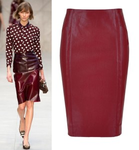 Burgundy-Ruby-Carmine-Faux-Leather-Pencil-Midi-Skirt-Simple-Elegant-Lily-Collins